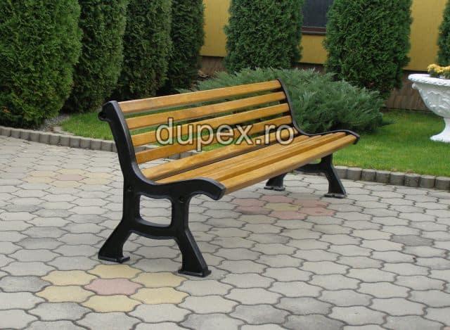 Banca parc (picioare fonta) rigle stejar BF.06 Dupex Sebes