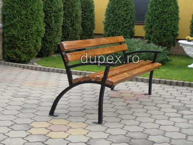 Banca parc (picioare teava) rigle pin sau stejar BT.01 Dupex Sebes