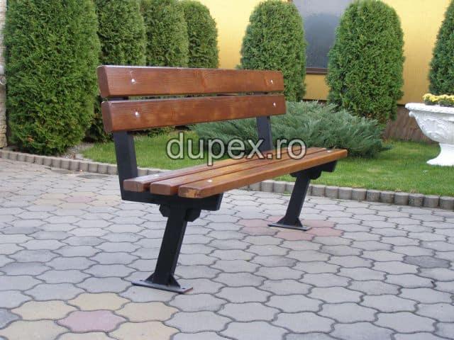 Banca parc (picioare teava) rigle pin sau stejar BT.05 Dupex Sebes