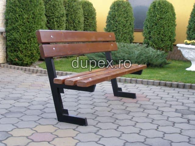 Banca parc (picioare teava) rigle pin sau stejar BT.06 Dupex Sebes