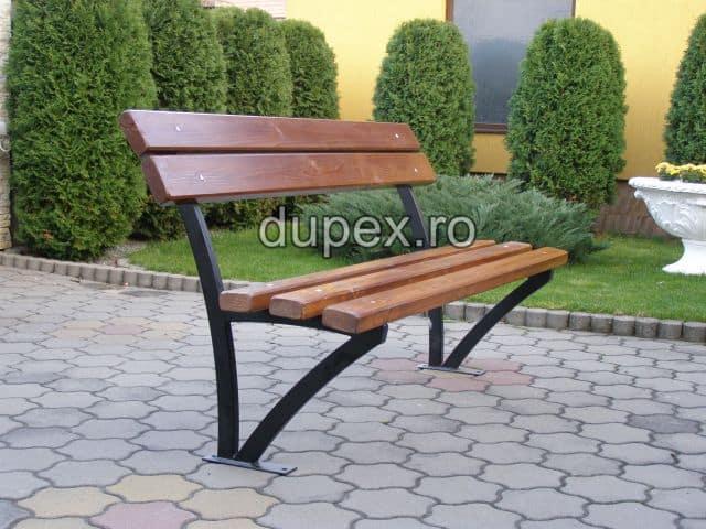 Banca parc (picioare teava) rigle pin stejar BT.09 Dupex