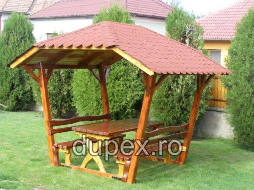 Masa cu 2 banci din lemn cu acoperis MLA.01 Dupex Sebes