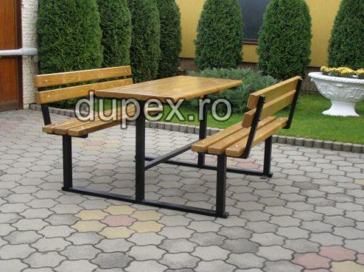 Masa lemn cu 2 banci ML2B.02 Dupex Sebes