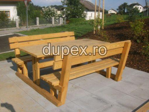 Masa lemn cu 2 banci picnic ML2B.01 Dupex Sebes