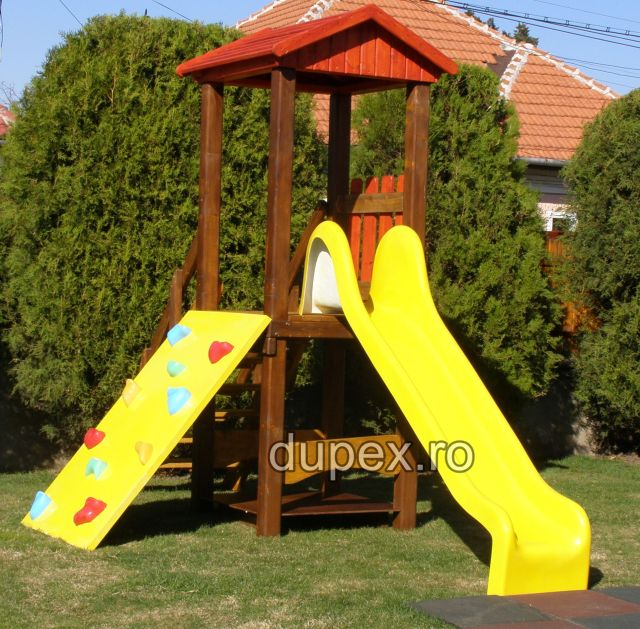 Straight Slide 2.5 m with wooden tower and climber TDTC.02