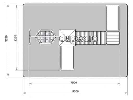 Vedere de sus Complex de Joaca pentru copii cu dizabilitati CJ.49 Dupex
