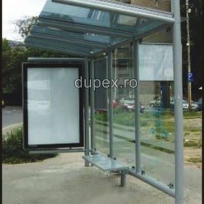 Statie bus cu banca din PAFS-pereti din sticla duplex cu panou info SB.01 Dupex Sebes