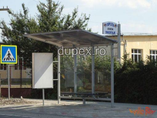 Statie buss cu banca din PAFS-pereti din sticla duplex cu panou info SB.01 Dupex Sebes A