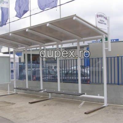 Statie buss cu banca din PAFS-pereti din sticla duplex cu panou info SB.02 Dupex Sebes